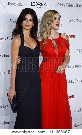 Penelope Cruz and Scarlett Johansson at the Los Angeles Premiere of