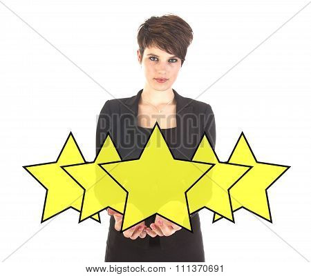 Businesswoman With Ranking Stars Isolated On White Background