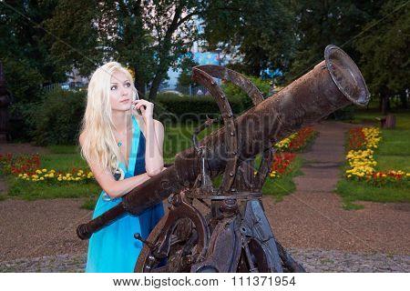 Girl Near Monument Of Telescope