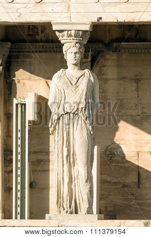 Caryatid portrait at Acropolis in Greece.