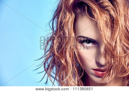 Beauty portrait redhead sexy woman with wet hair