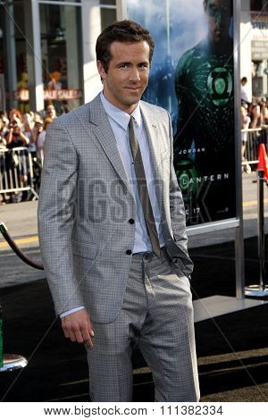 HOLLYWOOD, CALIFORNIA - Wednesday June 15, 2011. Ryan Reynolds at the Los Angeles premiere of