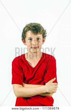 Cute Happy Boy In Red Shirt And Lesure Pose