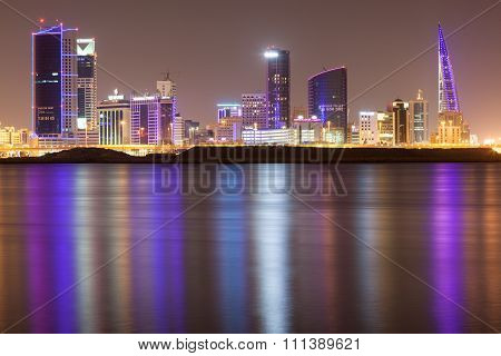 Skyline Of Manama City At Night