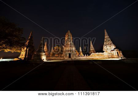 Twilight Scene Of Pagoda In Wat Chaiwatthanaram,Ayutthaya Historical Park Of Thailand.