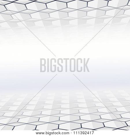Abstract hexagon tiled floor and ceiling with a perspective room