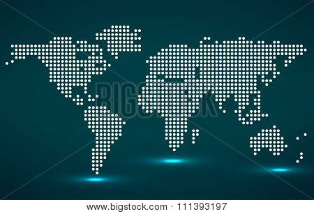 Abstract World Map Of Round Dots