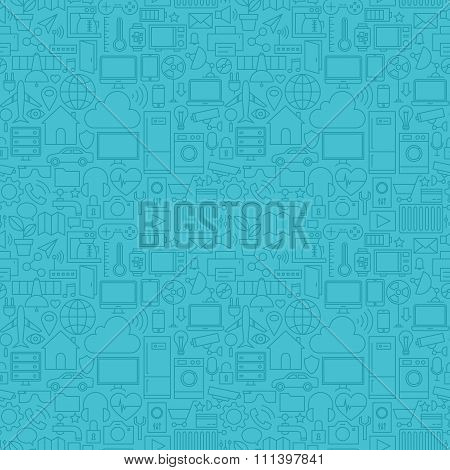 Thin Line Internet Of Things Blue Seamless Pattern