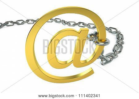 E-mail Protection. Commercial At Symbol With Chain