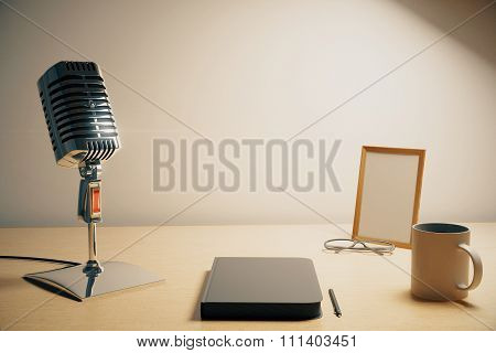 Radio Microphone With Diary, Cup Of Coffe And Blank Picture Frame, Mock Up