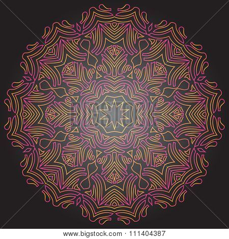 Tinted Mandala On Dark Gray Background. Traditional Ornament Design. Multicolor Geometric Circle Ele