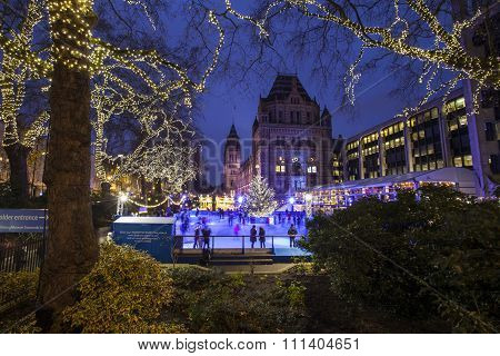 Ice Rink At The Natural History Museum In London