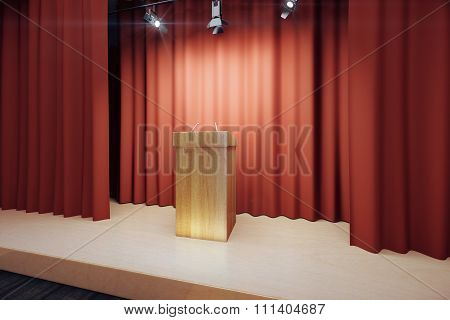 Wooden Tribune On The Stage With Red Scenes