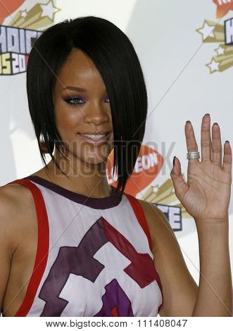 Rihanna attends the Nickelodeon's 20th Annual Kids' Choice Awards held at the Pauley Pavilion - UCLA in Westwood, California on March 31, 2007.