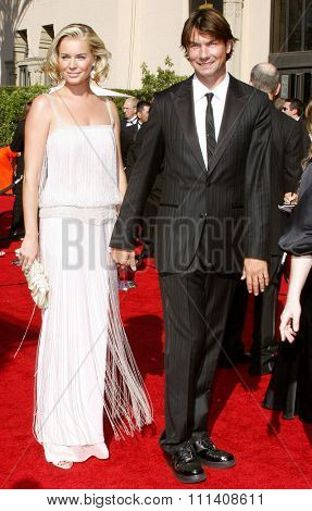 Rebecca Romijn and Jerry O'Connell attend the 59th Annual Primetime Emmy Awards held at the Shrine Auditorium in Los Angeles, California, United States on September 16, 2007.