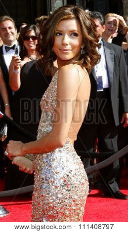 Eva Longoria attends the 59th Annual Primetime Emmy Awards held at the Shrine Auditorium in Los Angeles, California, United States on September 16, 2007.