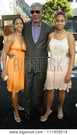 Morgan Freeman, granddaughter Alexis and daughter attend the Los Angeles Premiere of