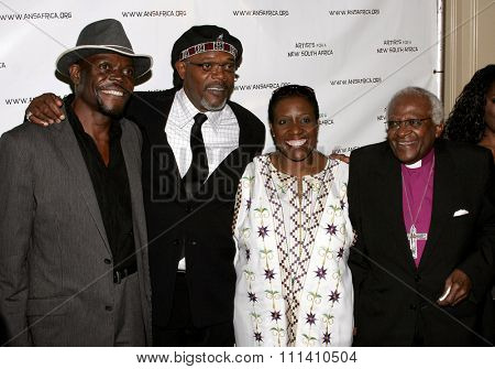 Samuel L. Jackson and Archbishop Desmond Tutu attend the Archbishop Desmond Tutu's 75th Birthday Celebration held at the Regent Beverly Wilshire Hotel in Beverly Hills on September 18, 2006.