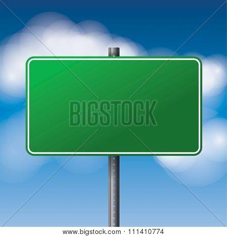 Blank Green Road Sign Illustration