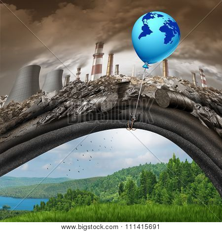Climate change global agreement concept as a blue balloon of hope with a map of the earth lifting away a polluted dirty industrial background revealing a clean green natural landscape as a greenhouse gas solution symbol.