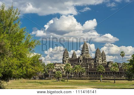 Ancient temple Angkor wat on a sunny day