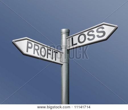 Profit Loss Risk Road Sign