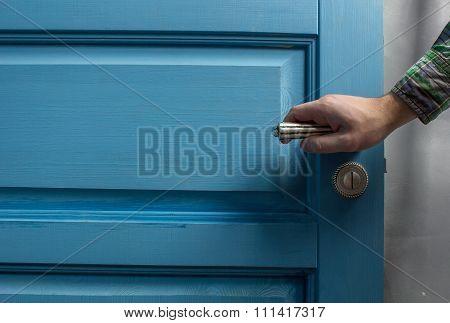 man opens the door