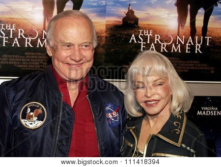 Buzz Aldrin and wife Lois attend the Los Angeles Premiere of