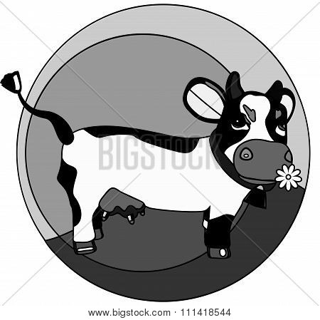 Funny Cow On The Grass Monochrome Logo