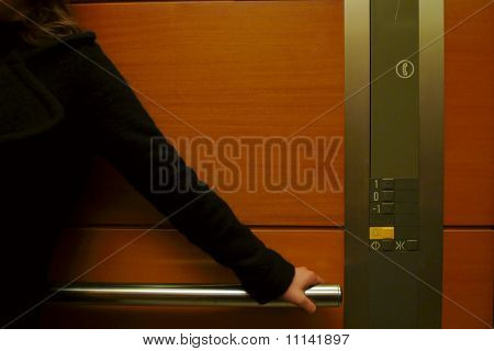 Woman at elevator
