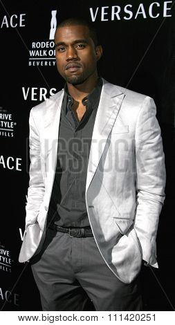 Kanye West attends the Rodeo Drive Walk Of Style Award honoring Gianni and Donatella Versace held at the Beverly Hills City Hall in Beverly Hills, California on February 8, 2007.