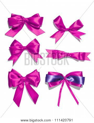 set of six purple ribbon satin bows