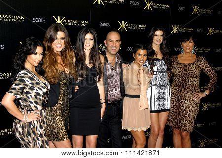 Kim Kardashian, Khloe Kardashian, Kylie Jenner, Bruno Schiavi, Kourtney Kardashian,  Kendall Jenner and Kris Jenner at the Kardashian Kollection Party held at the Colony in Hollywood on 17.8.2011.