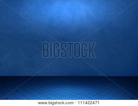 Empty blue grunge room background