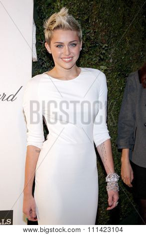 Miley Cyrus at the 21st Annual Elton John AIDS Foundation Academy Awards Viewing Party held at the Pacific Design Center in Los Angeles, United States, 240213.