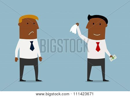 Businessman taking money from competitor