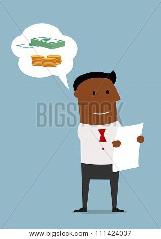 Happy businessman reading the contract