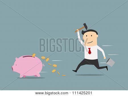 Businessman wants to break piggy bank
