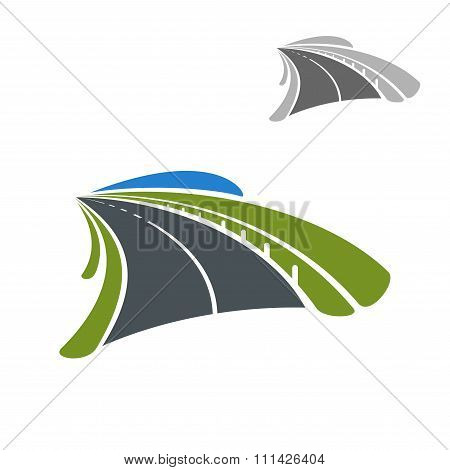 Icon of road among green fields