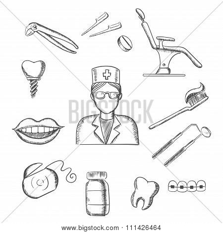 Sketch icons with dentistry and dental symbols