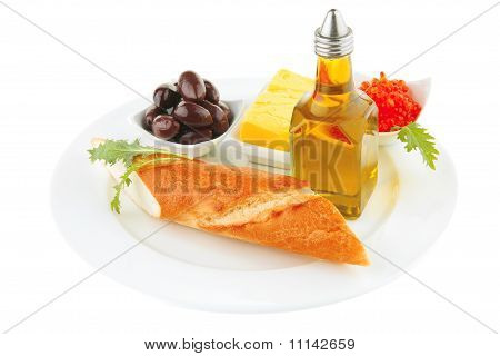 Olive Oil,caviar, And Baguette