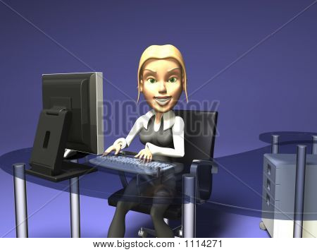 Blonde Girl In Front Of A Computer