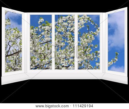Window Overlooking The Garden With Blossoming Tree