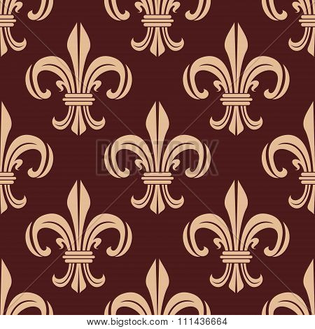 Seamless brown and beige lilies pattern