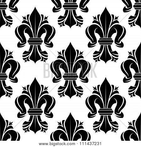 Black and white seamless fleur-de-lis pattern
