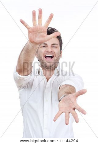 Man Smiling, Arms Outstretched