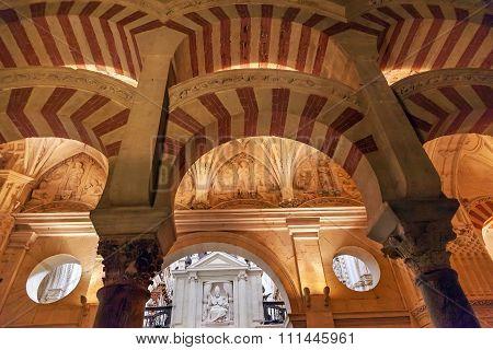 Arches Pillars Pope Mezquita Cordoba Spain
