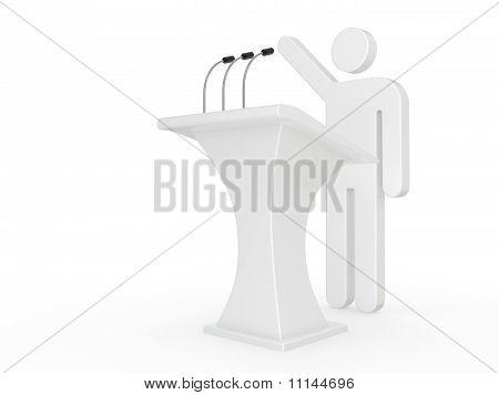 Man Speech With Tribune