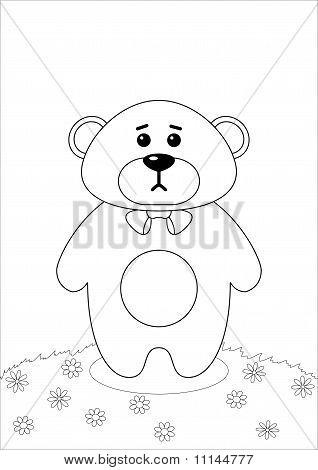Teddy bear on a meadow, contours