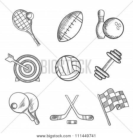 Sport icons and items in sketch style